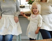 Frosted Cupcake Aprons - White Vintage Embroidered Half Apron, Women, Girl, Mommy and Me Aprons, Vintage, Apron Set, Mother and Daughter