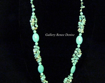 Faux Turquoise Chip Necklace Howlite Necklace Vintage Bead Necklace Southwestern Necklace Native American Necklace SWN129