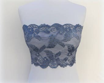 Gray lace bandeau top. Gray lace strapless. Stretch lace bandeau top. Wireless bra. Tube top. Grey lace lingerie. Gift for her.