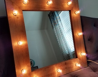 Wood Vanity Mirror Light Up Light Bulbs Rustic Farmhouse Style Shabby Chic Beauty Makeup Room