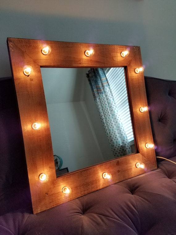 Vanity Mirror With Lights Etsy : Wood Vanity Mirror Light Up Light Bulbs Rustic Farmhouse Style