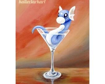 Dratini Martini Print - Pokemon Fan Art - Video Game Art - Cute Dragon Monster Nintendo Cocktail Art Gift for Gamer Katie Clark Art