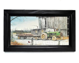 John Deere Tractor, Farm and Barn, Art Print, Country Home Decor, Wall Hanging, Handmade, 19x11, Custom Wood Frame, Made in the USA