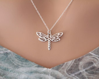 Sterling Silver Dragonfly Charm Necklace, Dragonfly Necklace, Silver Dragonfly Charm Necklace, Openwork Dragonfly Pendant Necklace
