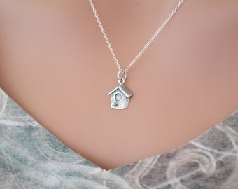 Sterling Silver Birdhouse Charm Necklace, Birdhouse Necklace, Birdhouse Pendant Necklace, Realistic Birdhouse Pendant Necklace