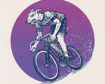 Bike Dog — Track Bike — Silkscreened Art Print