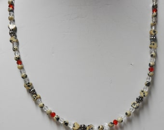 Dalmation Jasper w/Red Crystals Necklace