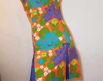 FREE  SHIPPING  1960 Mod PopArt Floral Dress