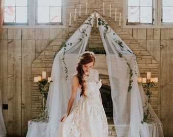 New! French Provincial Marie Antionette Rustic Romance Wedding Gown