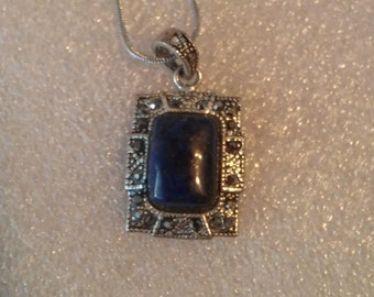 Marcasite and Lapis Silver 18 Inch Rectangle Necklace