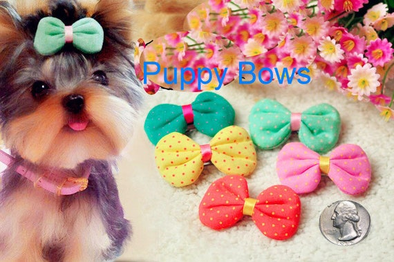 Puppy Bows ~ Puffy fabric polka dots dog hair bow pet clip or bands GREEN YELLOW CORAL pink  ~Usa seller