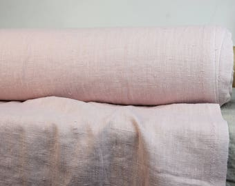 Pure 100% linen fabric 280gsm. Dull not bright shade of pink (rose). Heavy, washed-softened, dense, homespun. For home textile, clothes.