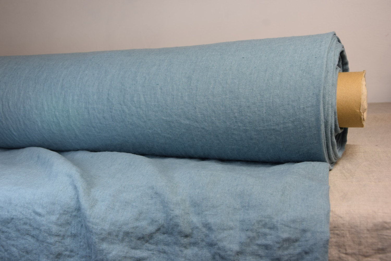 Grayish Blue pure 100% linen fabric 250gsm. light grayish blue (steel blue