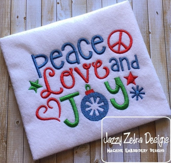 Peace, Love and Joy saying embroidery design - Christmas embroidery design - saying embroidery design