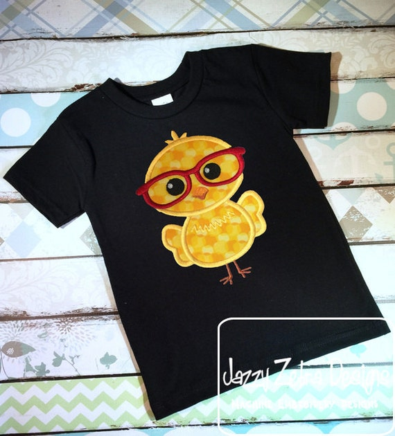 Chick boy with glasses applique embroidery Design - Easter appliqué design - chick appliqué design - farm appliqué design - boy appliqué