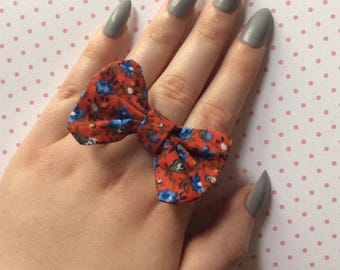 Red floral bow ring, bow statement ring, flower print bow jewelry, fabric statement jewlery, flower ring, floral fabric, gift for her