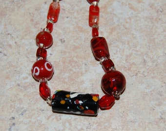 lampwork and glass beads focal pendant chunky beads valentine