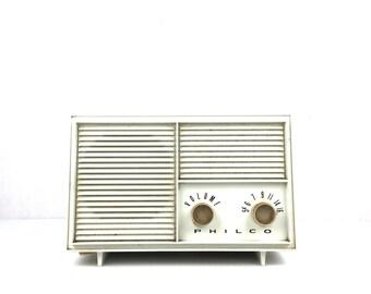 Vintage Philco Tube Radio Philco Radio Vintage 1960s White Plastic Electric Radio Vintage Philco Mid Century Modern Radio