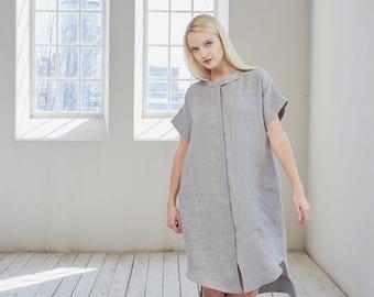 Linen shirt dress, Tunic dress, Striped linen summer dress, Linen tunic dress, Grey linen shirt dress, Long linen shirt, Loose shirt dress