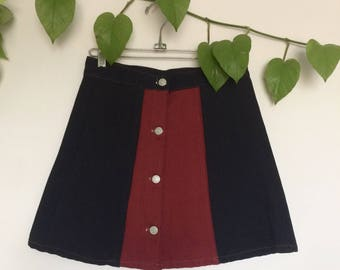 Vintage 90s button front denim skirt