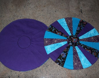 Handmade, Fabric, Centerpiece, Placemats, Table Runner, Floral, Blue, Black, Purple, Gift, Kitchen, Dining Room, Living Room, Decoration