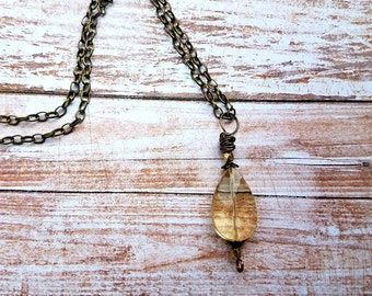 Wire wrapped citrine quartz pendant on brass-citrine quartz pendant-lemon quartz pendant-citrine necklace-citrine quartz necklaces