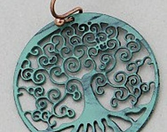 Hand Crafted, Tree Of Life, Dangle Earrings, In Patina Green Colorations