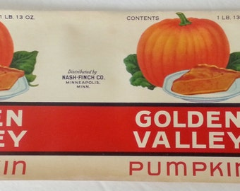 Golden Valley Pumpkin Original Vintage Tin Can Label Nash-Finch Minneapolis, Minnesota
