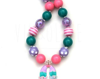 Chunky Necklace - Bubblegum Necklace - Troll Necklace - Troll Jewelry - Twin Troll - Troll Movie - Girl's Necklace - Troll Birthday Party