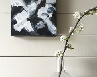 Black & White Original Abstract Contemporary Modern Painting Art on Canvas Mixed Media 'Icebreaker 3'