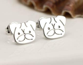 Sterling Silver Pug Earrings - Pug Stud Earrings - Pug Gifts