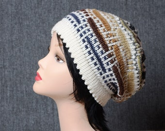 knit hat fashion gift knitted hat fashion hats striped hat for her women hat Slouch Hat winter hat slouchy beanie