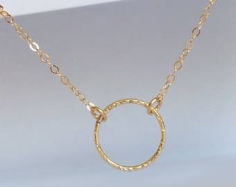 Dainty Gold Necklace, Gold Circle Necklace,Gold Necklace, Karma Necklace, Eternity Necklace, Infinity Necklace, Gold Eternity Necklace
