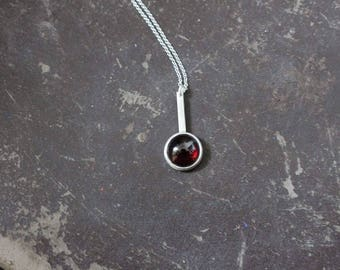 Garnet necklace, Sterling silver red gemstone necklace, minimalist necklace, one of a kind necklace, chain necklace, modern necklace