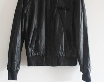 80's Vintage Black Mercerized/Shiny Cotton Sport Members Only Style Bomber Jacket