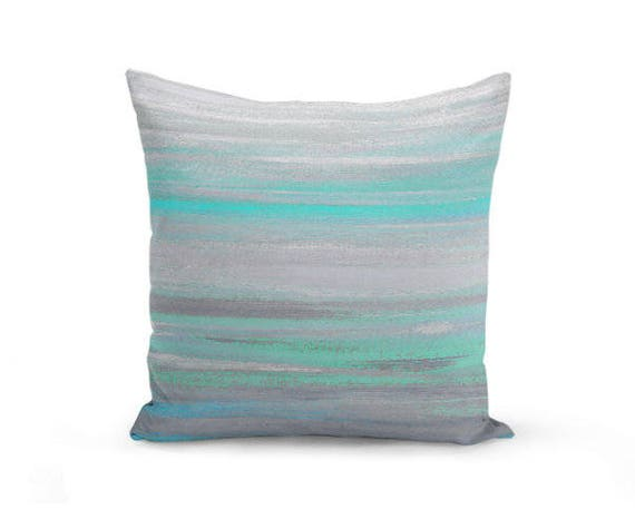 throw pillow cover grey mint aqua abstract modern home decor 87861