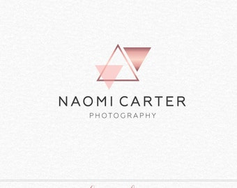 Geometric Rose Gold Logo, Abstract Logo, Photography Logo, Photography Watermark, Triangle Logo, Makeup Artist Logo, Event Planner Logo