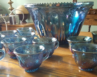 Carnival glass punch bowl, twelve cups,Indiana glas