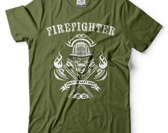 Firefighter T-Shirt Gift For Firefighter Tee Shirt American Firefighter Skull Shirt