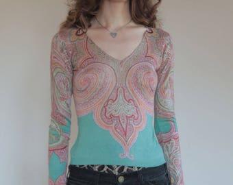 90's silk and cashmere boho fine knit arabesque sweater