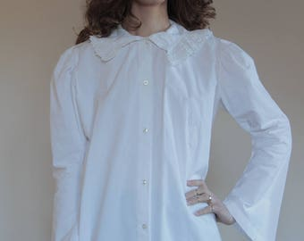 Victorian white cotton hand embroidered blouse with bell sleeves