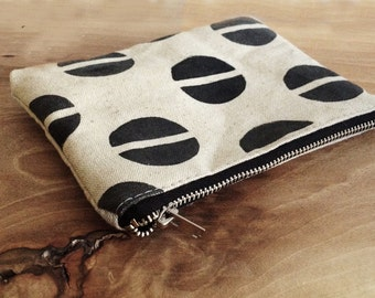 Canvas Pouch, Natural linen canas, Geometric, Cosmetic pouch, Carry all pouch, travel pouch, Id holder, coin pouch