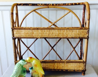 Vintage Bamboo Wall Shelf, Free Standing Shelf, Spice Rack, Coastal, Tropical, Beach, Cottage Decor