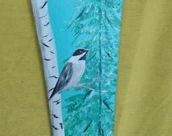 hand saw painted,chickadee painting,bird lover decor,chickadee decor,vintage painted handsaw,saw painting,bird painting,vintage hand saw
