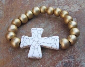 beaded stretch bracelet gold wooden beads white stone cross bracelet wood beaded Boho Southwestern bracelet big bead mala  stretch bracelet
