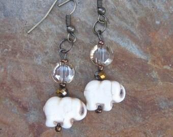 bohemian earrings elephant earrings white stone earrings champagne faceted glass copper bohemian country chic earrings women's accessories