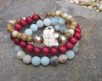beaded wrap bracelet bohemian bracelet amazonite elephant mala necklace stretch bracelet wood bracelet mens wrap bracelet women's bracelet