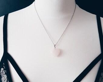 Rose Quartz Heart Necklace | Gemstone Crystal Pendant Necklace | Bridesmaid Jewelry