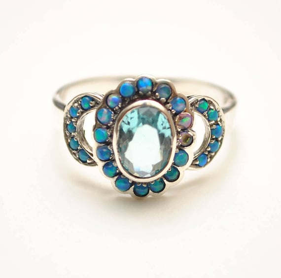 Sterling Silver Antique Style Art Deco Aquamarine Opal Ring Sz 8  #8642