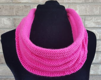 Knit Infinity Scarf, Knit Infinity Cowl, Women's Winter Scarf, Circle Scarf, Pink Infinity Scarf, College Student Gift, Mother's Day Gift